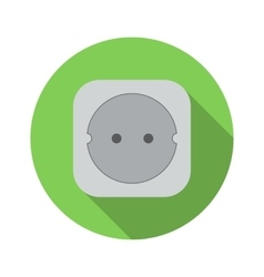 Electric white socket flat icon vector
