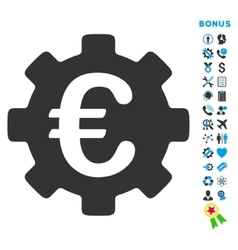 Euro Development Flat Icon with Bonus vector image