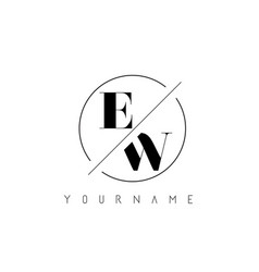 Ew letter logo with cutted and intersected design vector