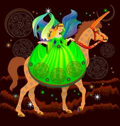 Fairyland princess riding on unicorn in fantastic vector