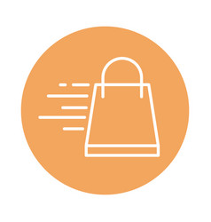 Fast shopping bag cargo shipping delivery block vector