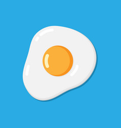 Flat fried egg on blue background vector