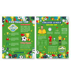 football sport poster with soccer team equipment vector image