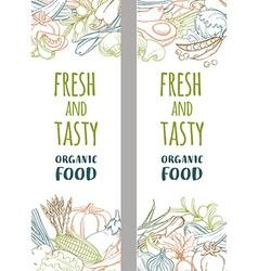 Fresh organic spring summer vegetables frame vector