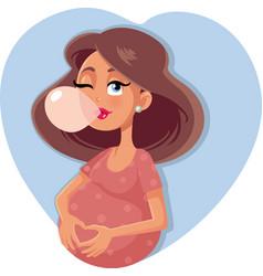 Funny bubble gum pregnant woman cartoon vector
