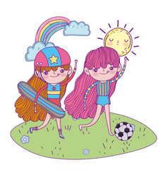 Girls mounted in skateboard and playing soccer vector