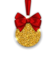 Glitter Christmas Ball with Golden Surface vector