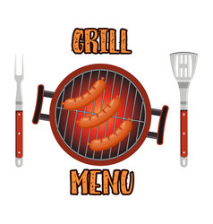 grill menu card design template vector image vector image