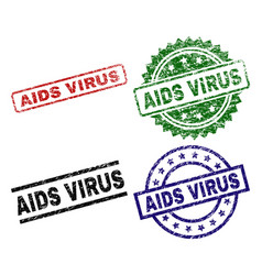 grunge textured aids virus seal stamps vector image