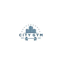 Gym city logo design with equipment icon vector