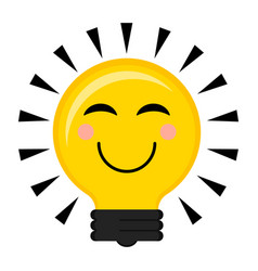 happy conceptual lightbulb icon vector image