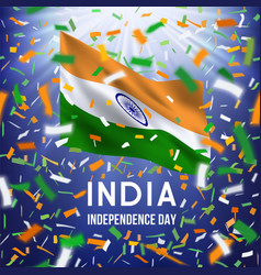 happy indian independence day card with confetti vector image