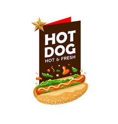 hot dog poster promote design background vector image