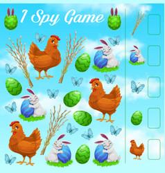 i spy kids game easter rabbits eggs butterflies vector image