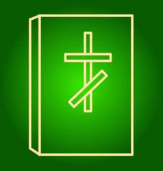 Icon the bible with the christian cross vector