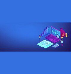 income statement isometric 3d banner header vector image