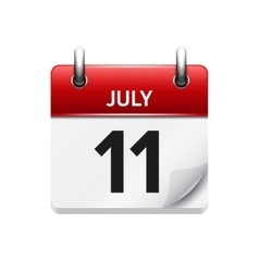 July 11 flat daily calendar icon Date vector