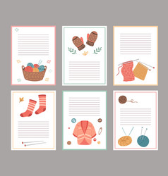 knitting elements cards blank paper notes vector image