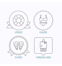 Lifebuoy lingerie and flippers icons vector