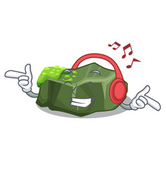 Listening music cartoon large stone covered with vector