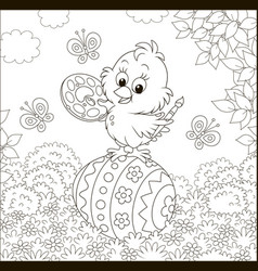 little easter chick painter vector image
