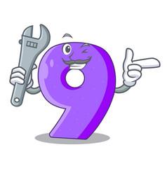 Mechanic paper cut number nine letter mascot vector