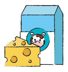 milk box with cheese vector image