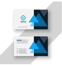 Modern minimal blue business card design with vector