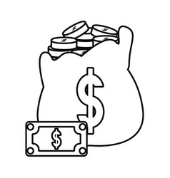 money bag coins stacked bill vector image