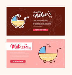 Mothers day card with pram logo and pink theme vector