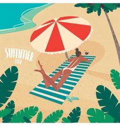 Nice woman sunbathing by the sea vector