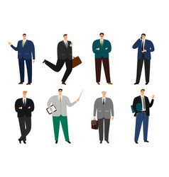 office cheerful man avatar set vector image