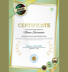 Official white certificate with gold green ribbons vector