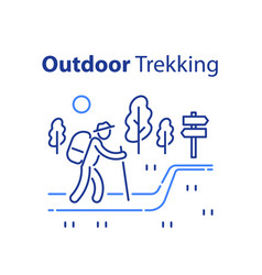 Outdoor trekking concept nature hiking vector