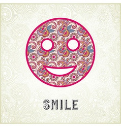 Pink ornamental pattern smile face silhouette vector