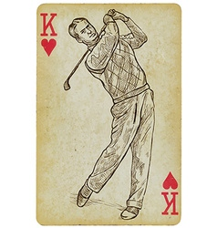Playing Card King - Vintage Golfer an Man Freehand vector image