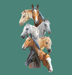 postcard with horses-1 vector image
