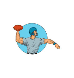quarterback qb throwing ball motion circle drawing vector image