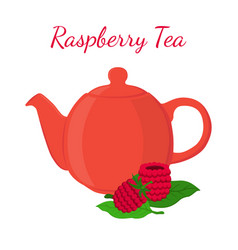 Raspberry tea in teapot with berries vector