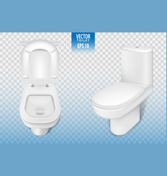 Realistic toilet mockup closeup white modern vector