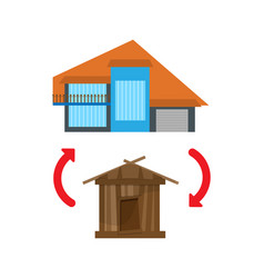 replacement of the old house with a new one vector image