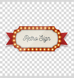 Retro sign with light bulbs and ribbon vector