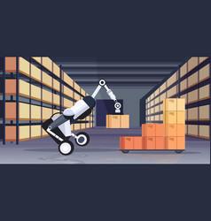 Robotic worker loading cardboard boxes hi-tech vector