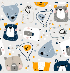 seamless childish pattern with cute bear faces vector image