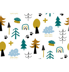 seamless pattern with decorative forest vector image