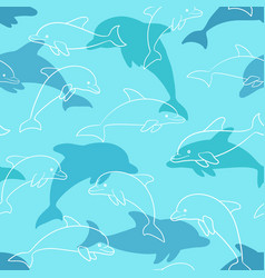 Seamless pattern with dolphin on white design for vector