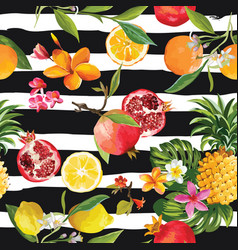 Seamless tropical fruits pattern orange lemon vector