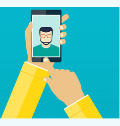 self mans shot on the phone vector image vector image