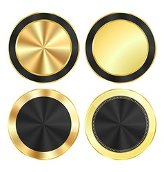 Set bright glossy gold with a black background of vector