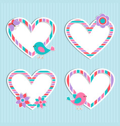Set cute frames-hearts with birdflower and vector